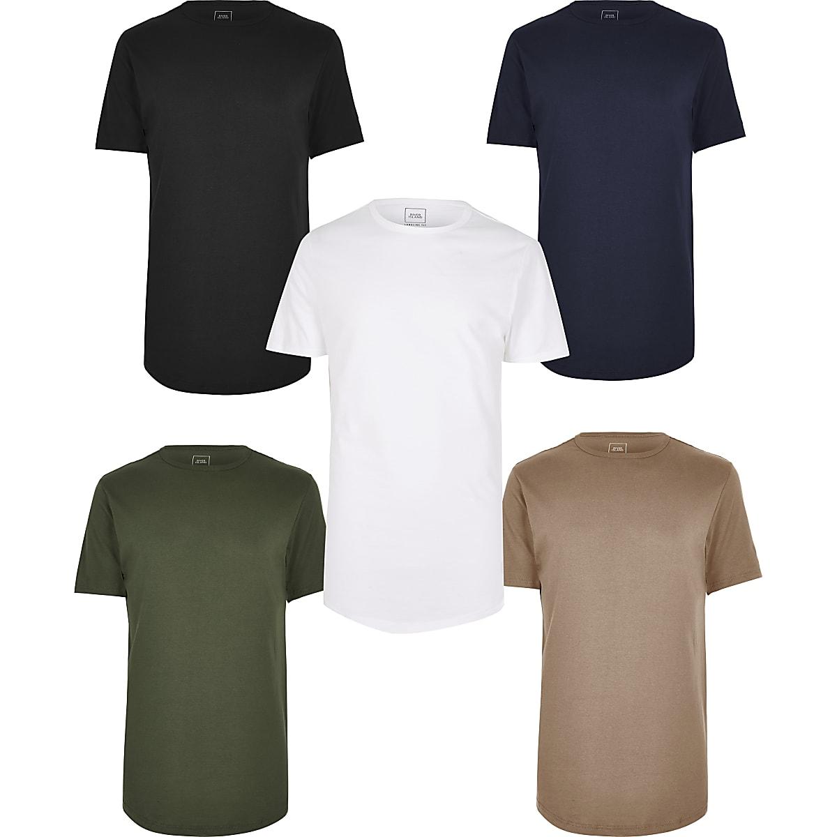 Multicoloured longline T-shirt 5 pack