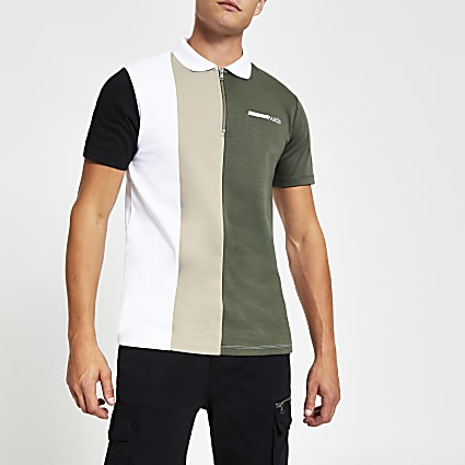 Khaki blocked slim fit zip neck polo shirt