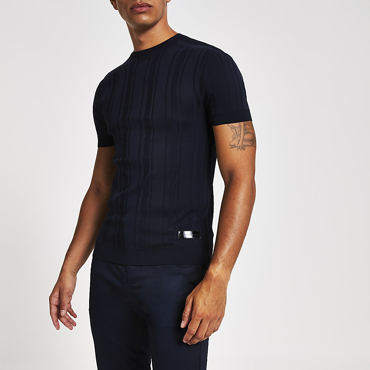 Navy ribbed muscle fit knitted T-shirt