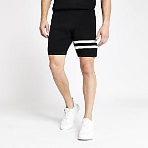 Schwarze, gestreiftes Slim Fit Shorts
