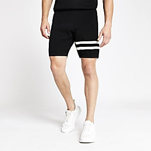 Zwarte gestreepte slim-fit short met wafeldessin
