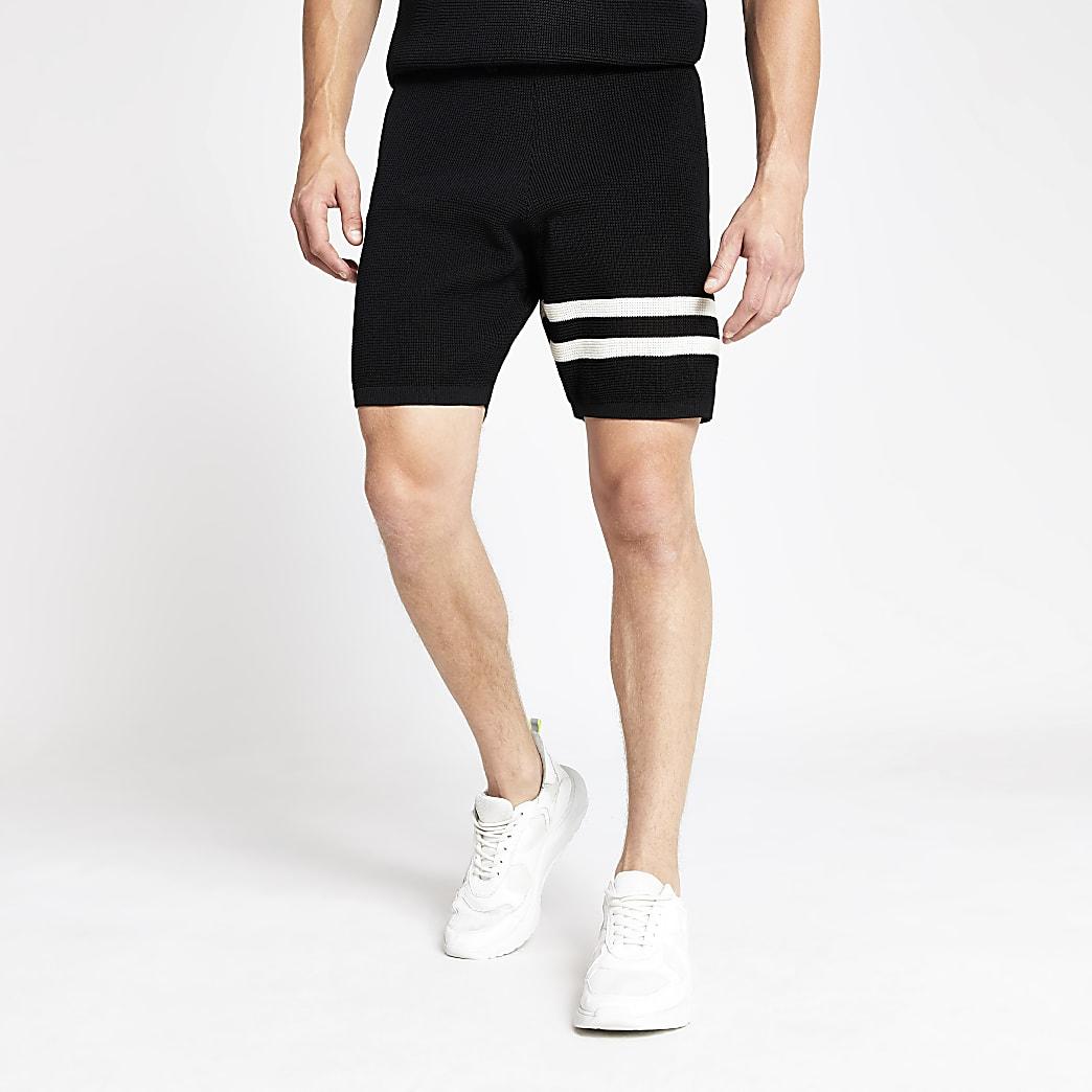 Black waffle slim fit stripe shorts