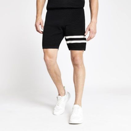 Black waffle slim fit stripe shorts