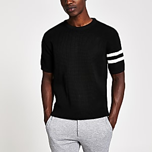 Black waffle slim fit short sleeve T-shirt