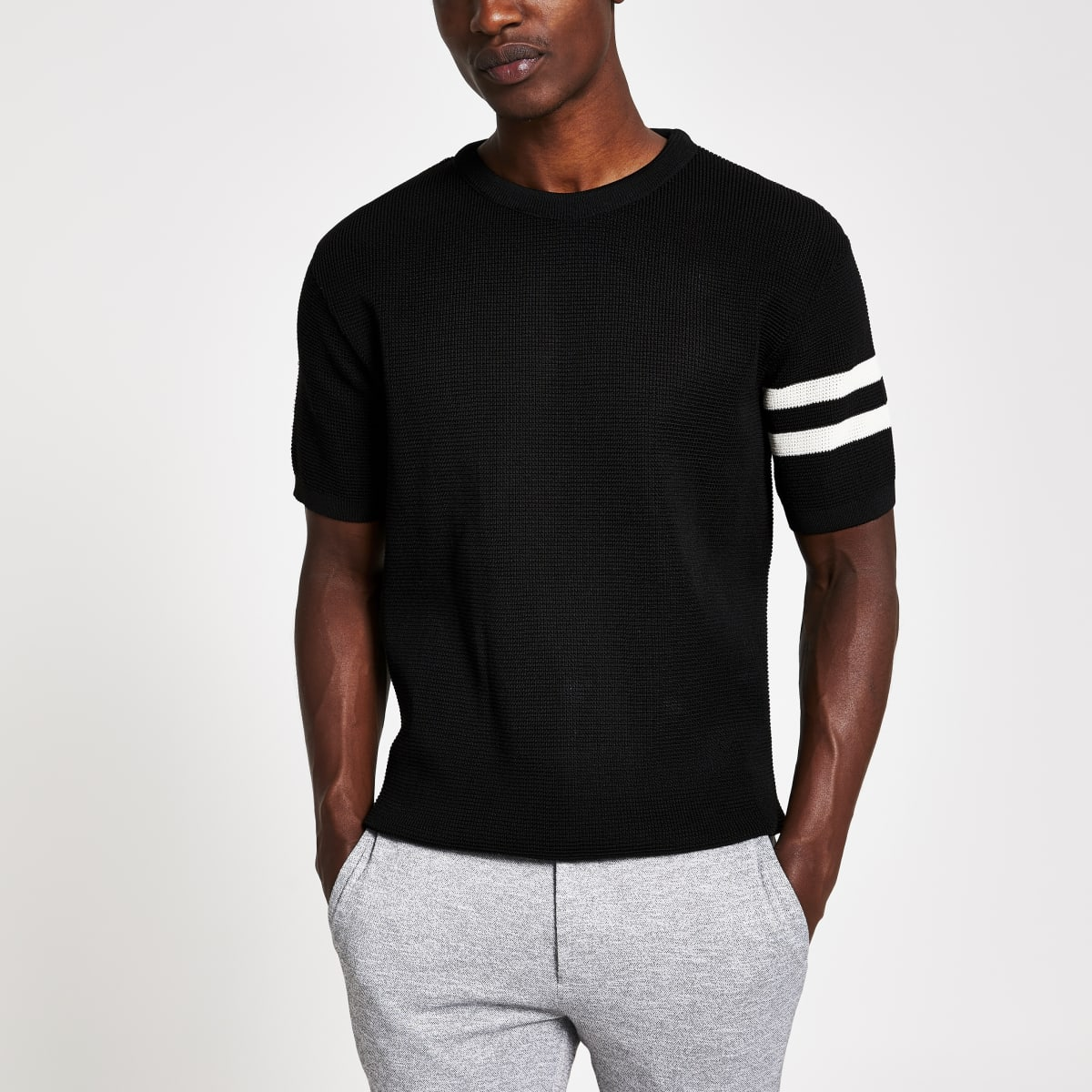 Black waffle slim fit short sleeve T-shirt