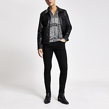 Smart Western black faux leather jacket