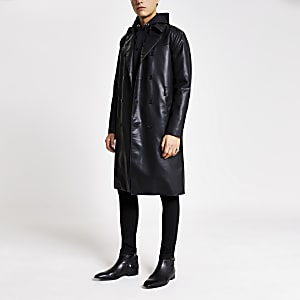 Smart Western  – Trench noir en cuir synthétique
