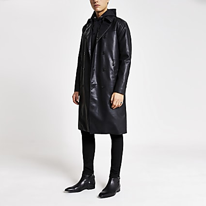 Smart Western black faux leather trench coat