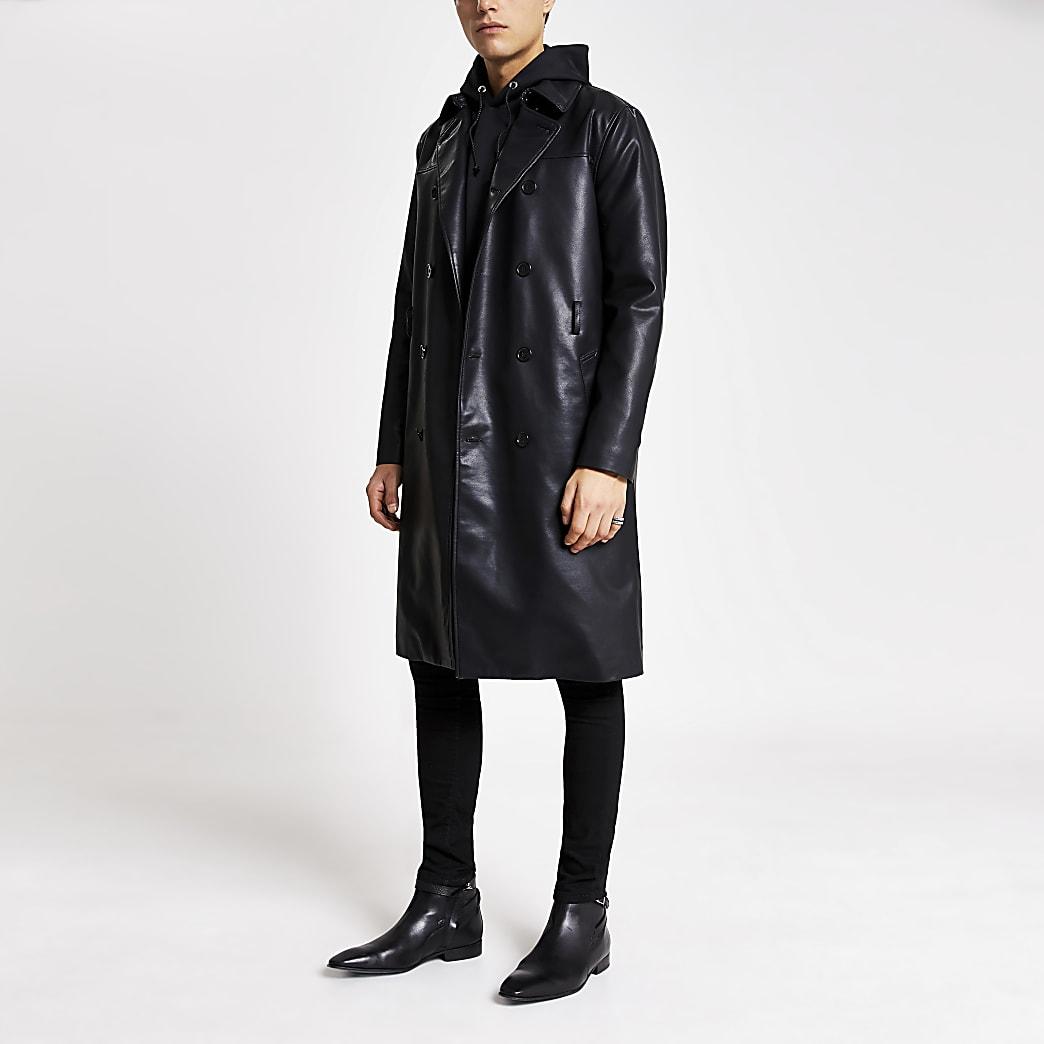 Smart Western – Schwarzer Trenchcoat aus Kunstleder