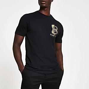 Zwart slim-fit T-shirt met 'Beauvais'-print en studs