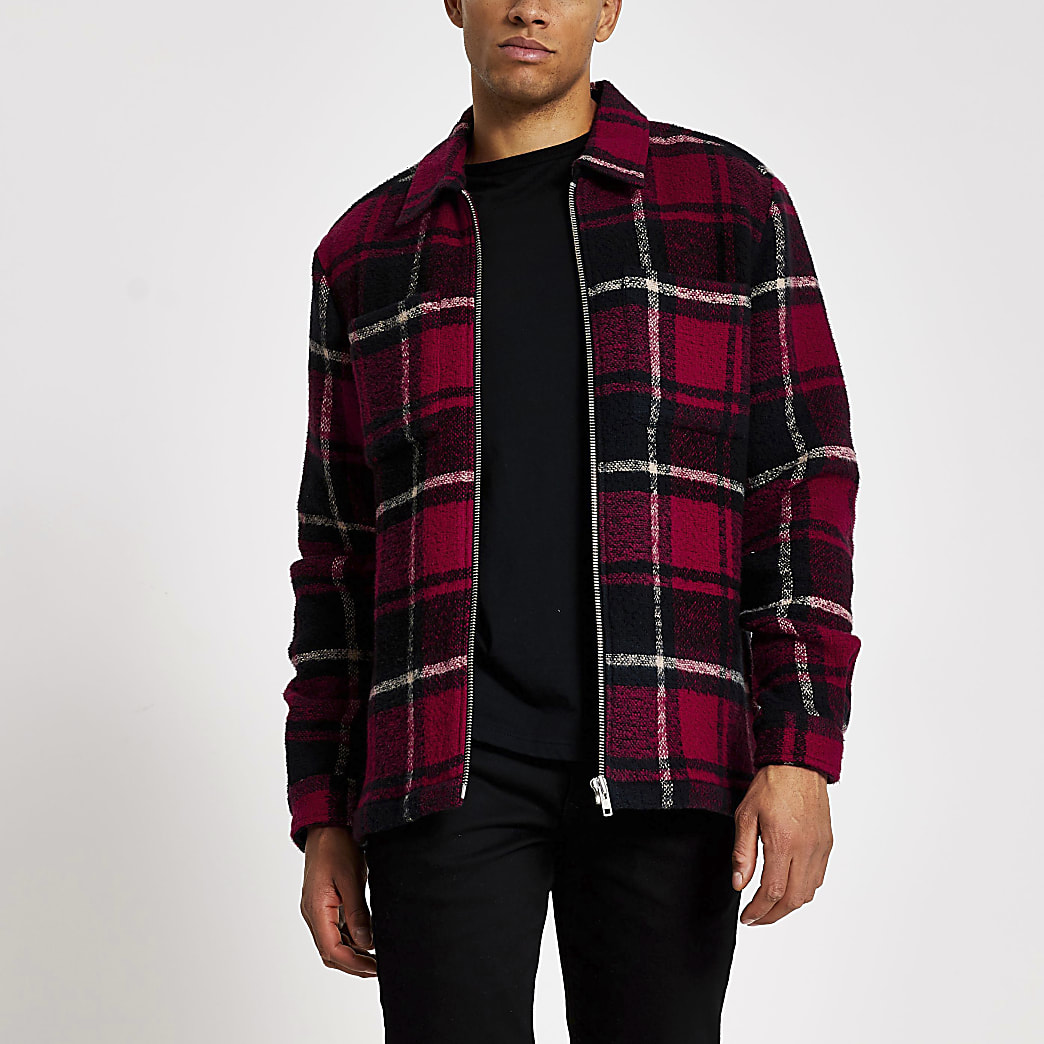 Red check long sleeve overshirt