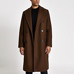 Zweireihiger, klassischer Mantel in Braun