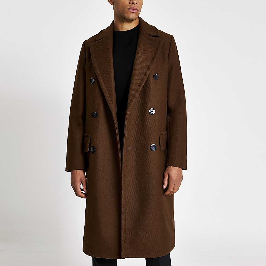 Brown double breasted overcoat