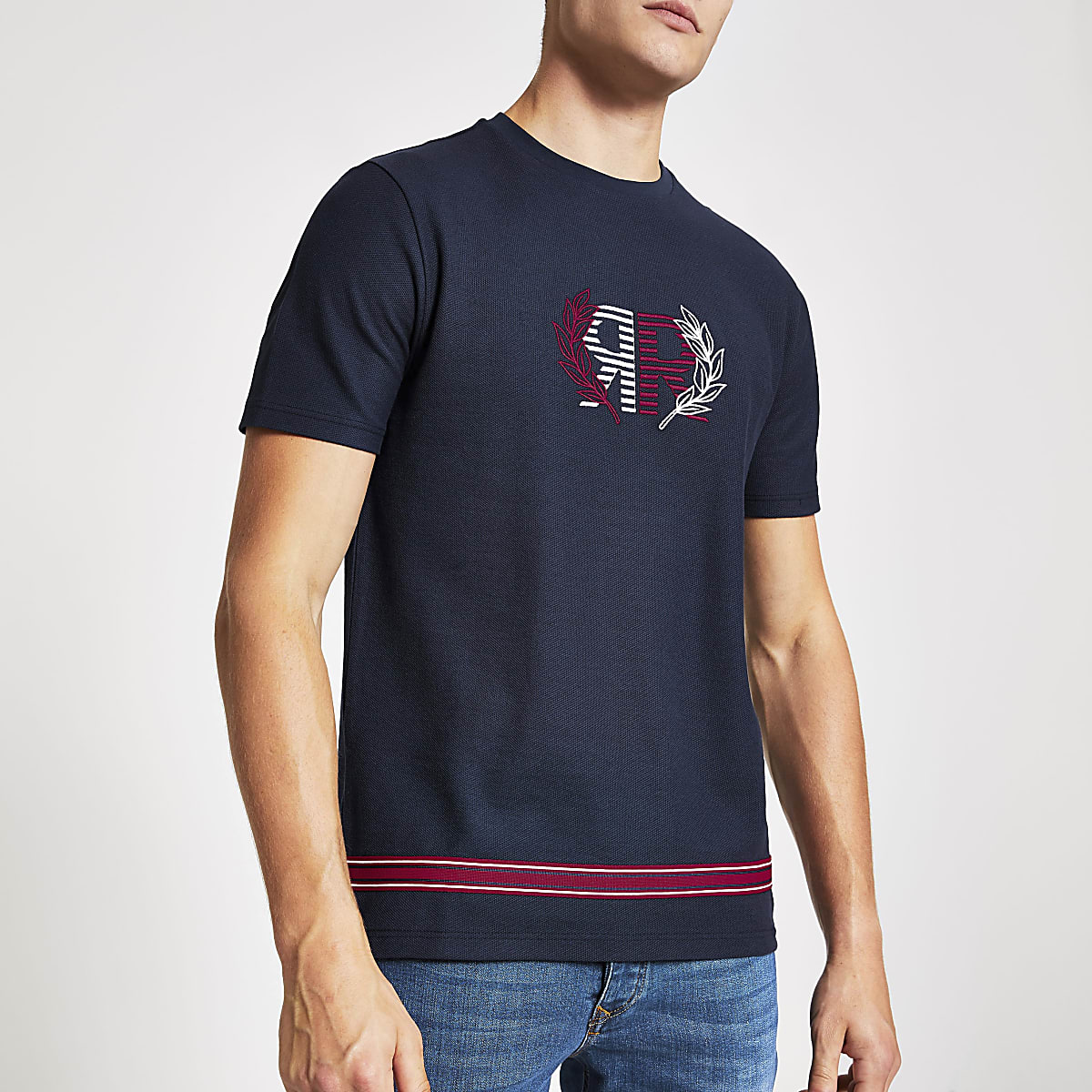 Navy slim fit 'RR' embroidered print T-shirt