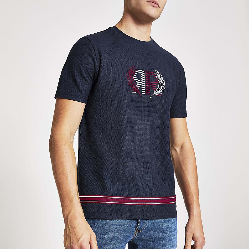 Marineblauw slim-fit T-shirt met 'RR' print geborduurd