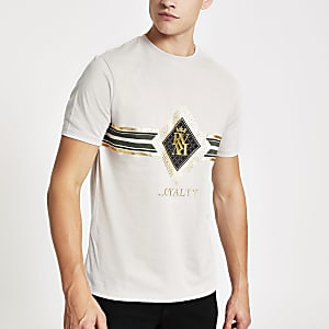 Kiezelkleurig slim-fit T-shirt met 'Loyalty'-print