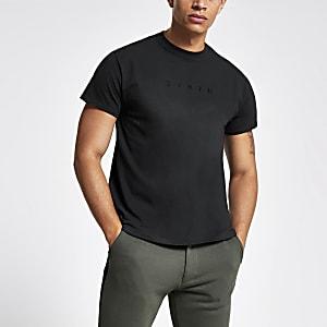 Black 'Svnth' embroidered T-shirt