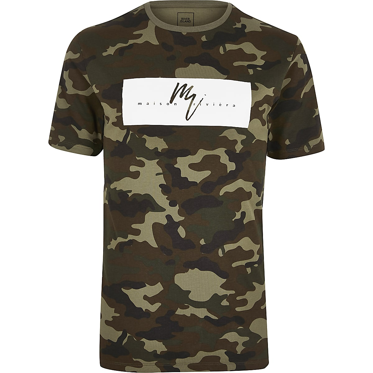 Green slim fit Maison Riviera camo T shirt