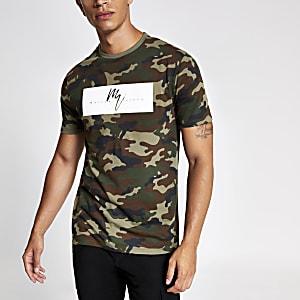 Groen slim-fit T-shirt met camouflage- en Maison Riviera-print