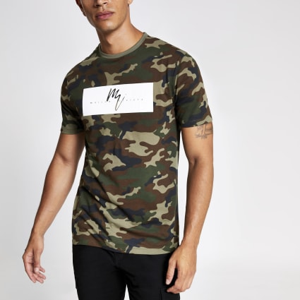 Green slim fit Maison Riviera camo T-shirt