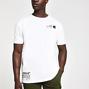 White printed slim fit T-shirt