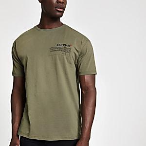 kaki slim-fit T-shirt met print