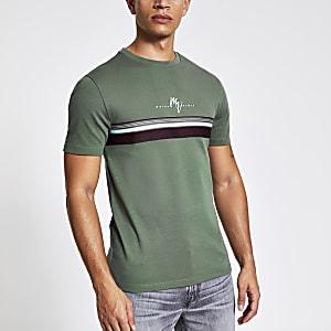 Maison Riviera – Gestreiftes Slim Fit T-Shirt in Khaki