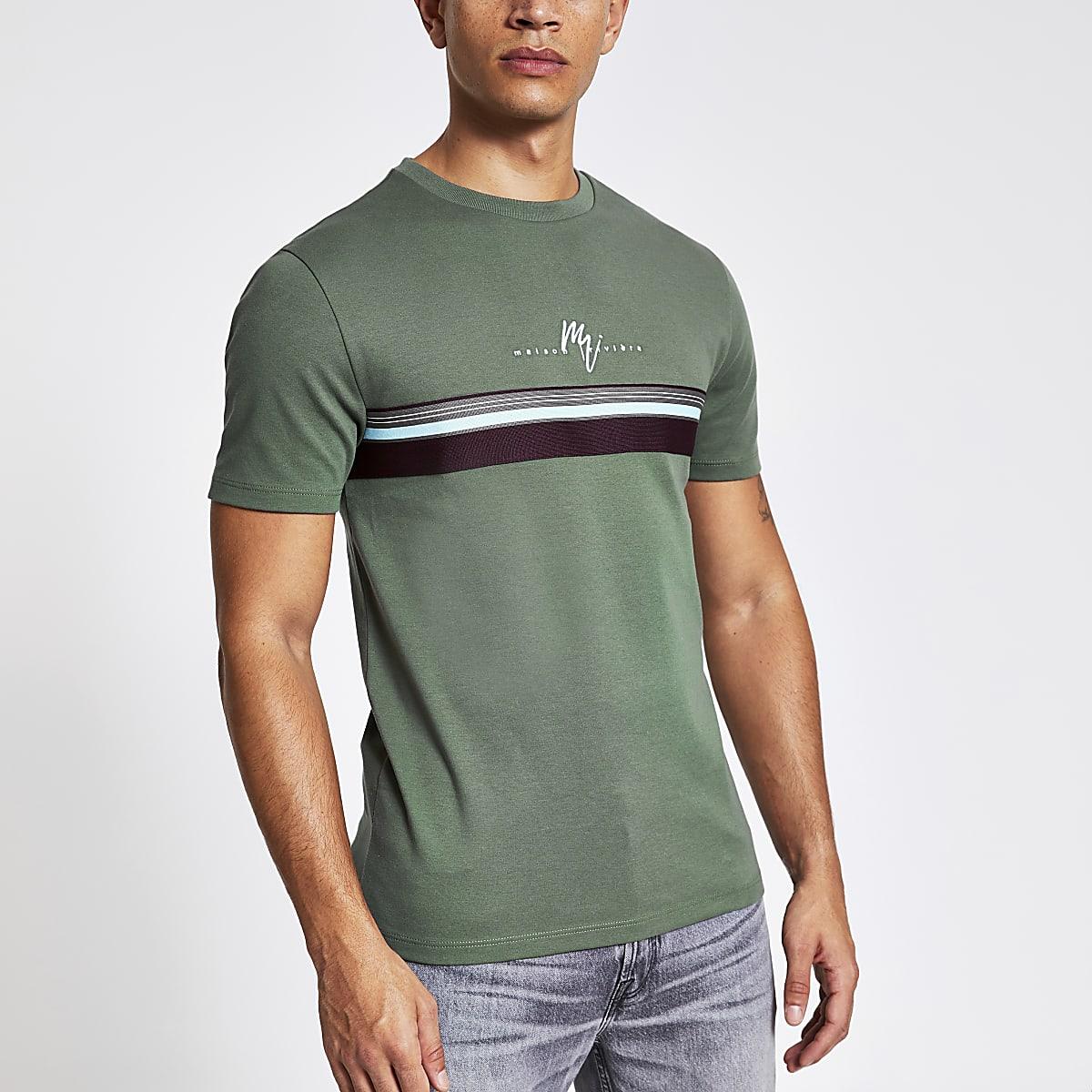 Khaki Maison Riviera stripe slim fit T-shirt