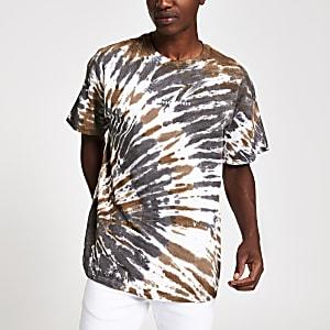 Kaki oversized T-shirt met tie-dye-print