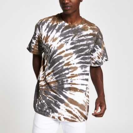 Khaki tie dye print oversized T-shirt