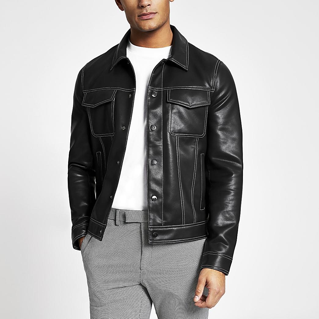Black faux leather stitch trucker jacket