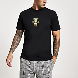 Black 'MCMLX' embroidered slim fit T-shirt