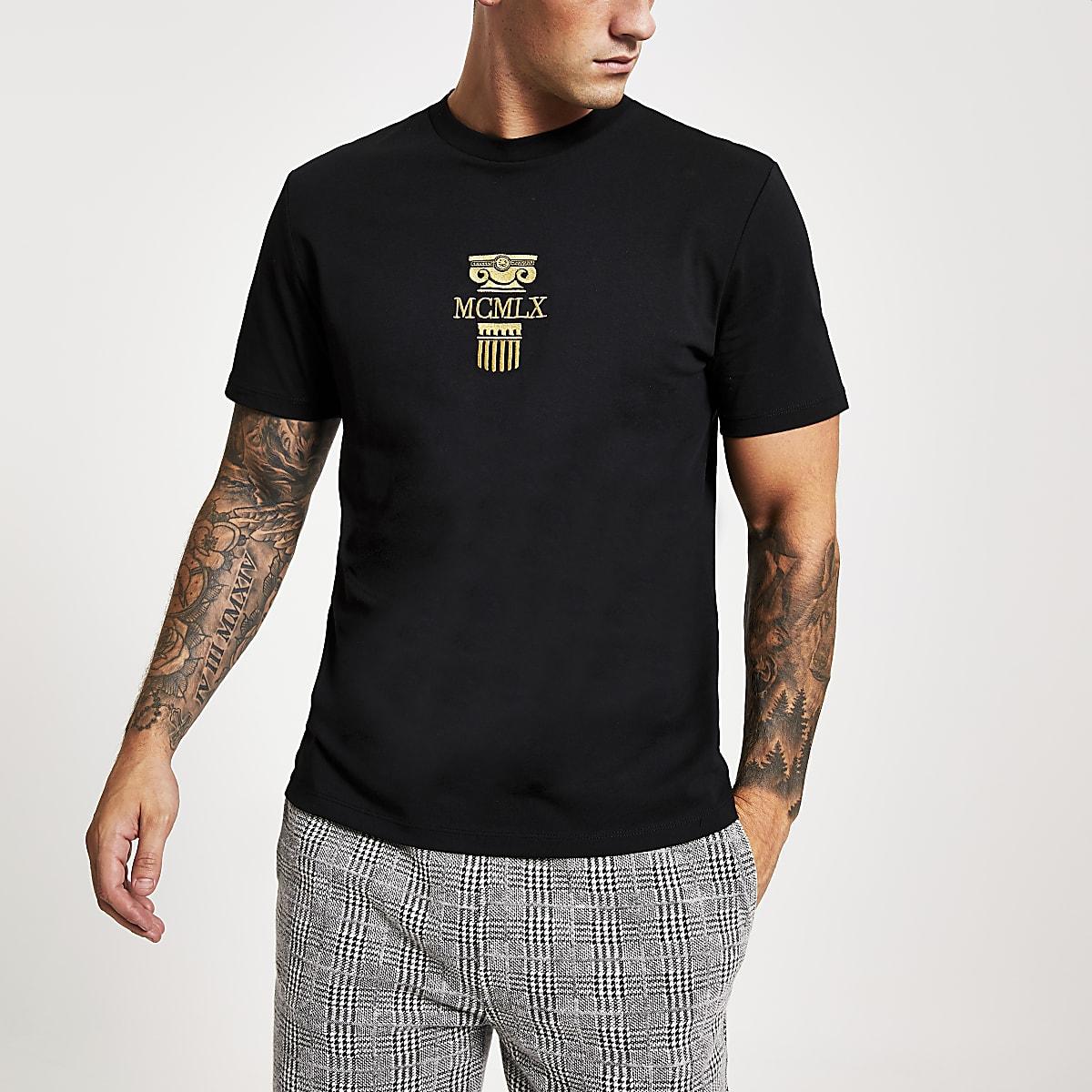 Zwart slim-fit T-shirt met 'MCMLX'-borduursel