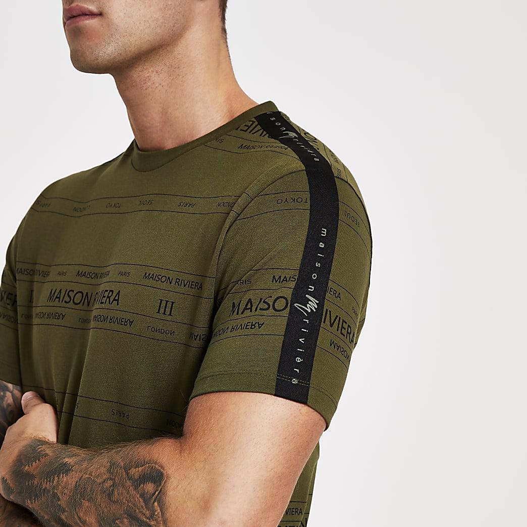Maison Riviera – T-shirt slim kaki avec bande logo