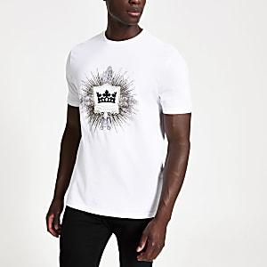 Wit slim-fit T-shirt met Veni vedi vici-print