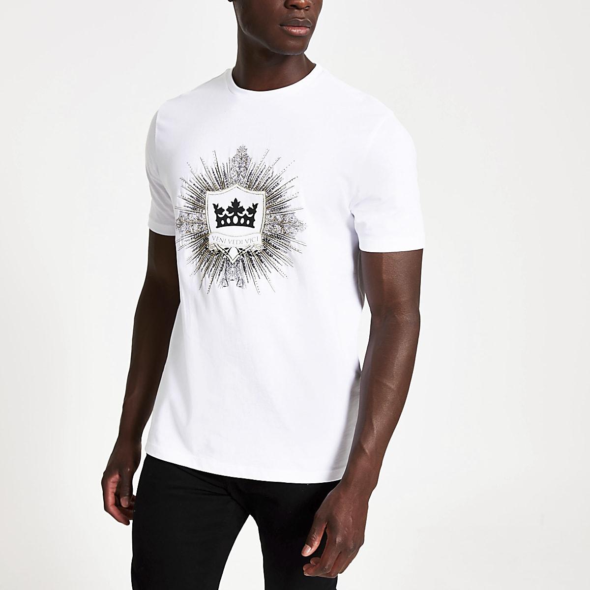 White 'Veni vedi vici' slim fit T-shirt