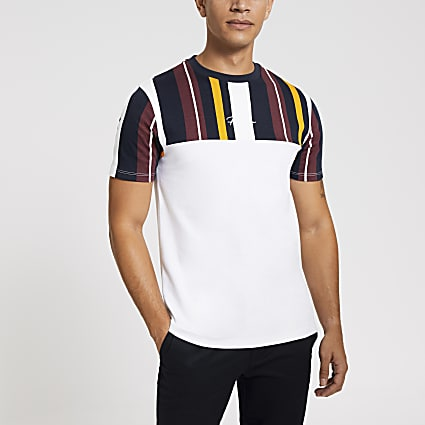 Navy block stripe Prolific slim fit T-shirt