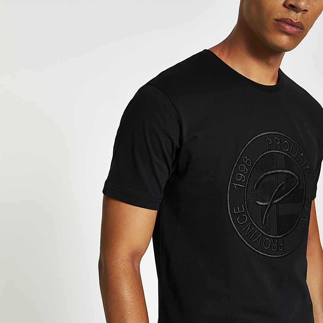 Prolific black embossed slim fit T-shirt