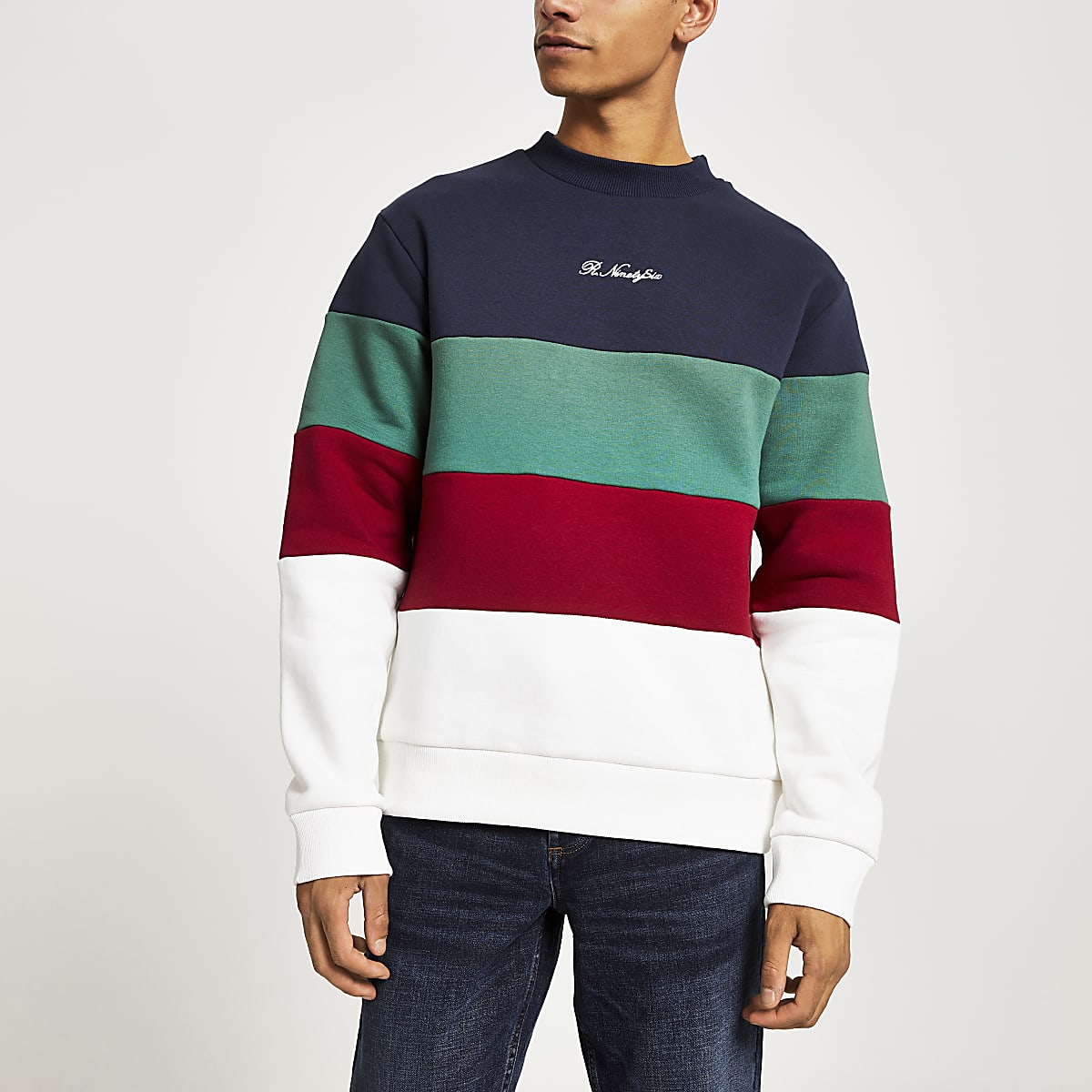 Navy R96 colour block sweatshirt