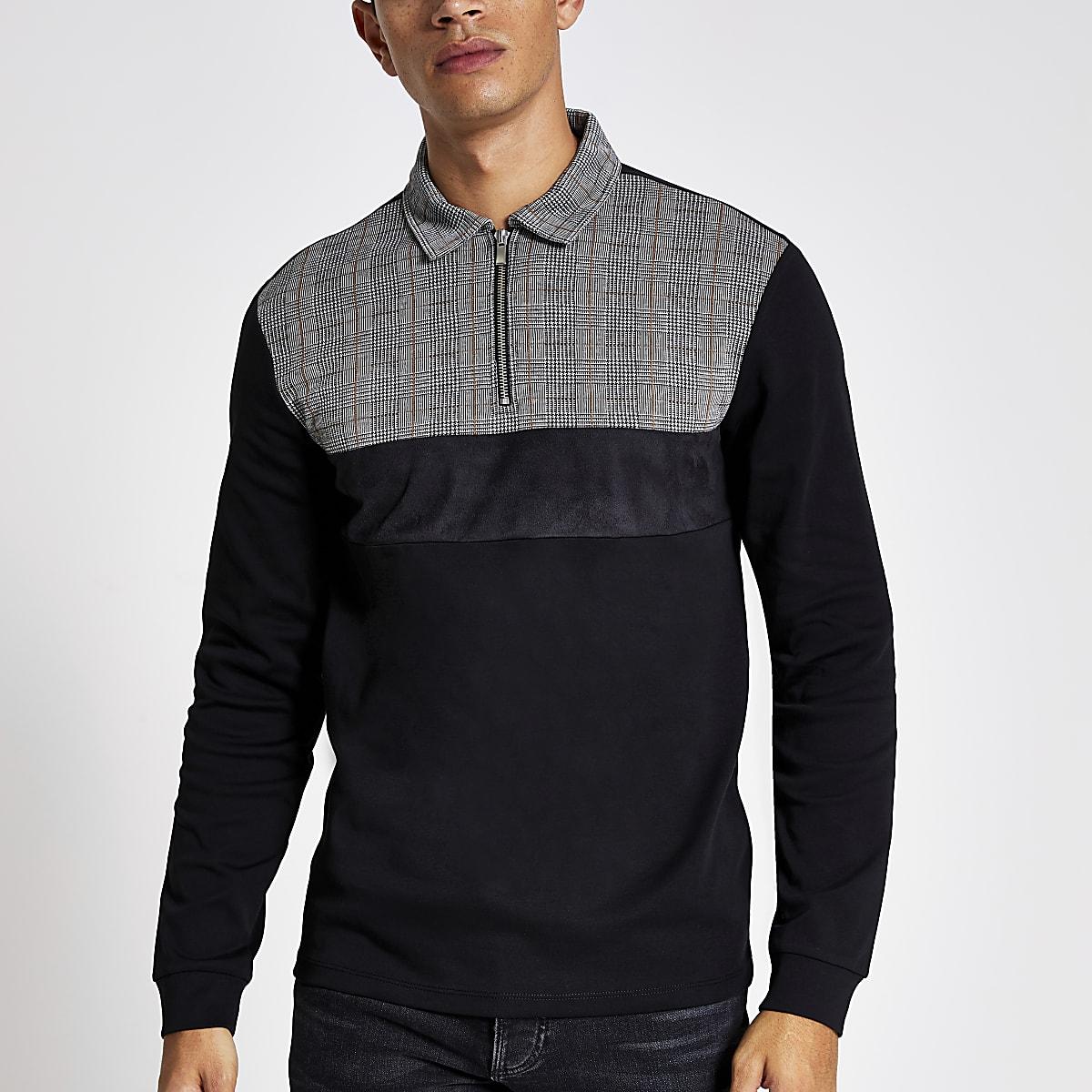 Black slim fit check blocked polo shirt