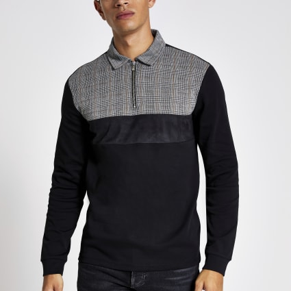 Black slim fit check blocked polo shirt