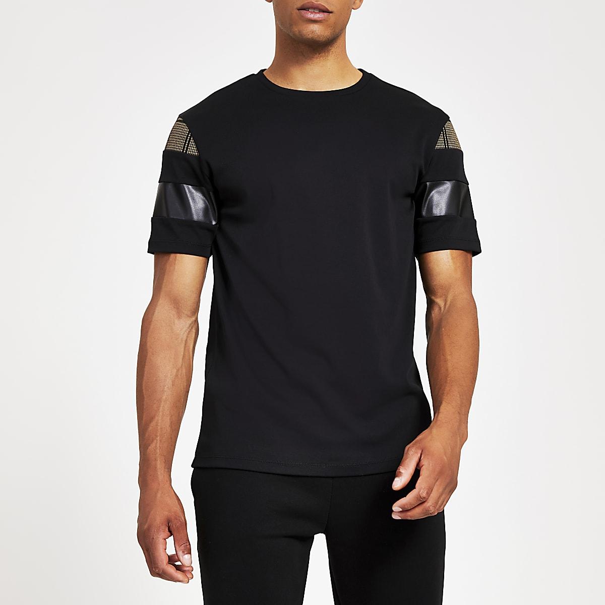 Black slim fit check block sleeve T-shirt