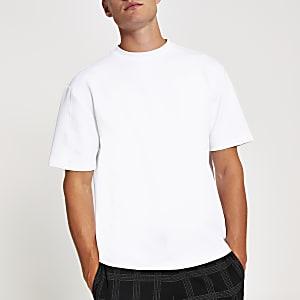 Wit oversized scuba T-shirt met korte mouwen