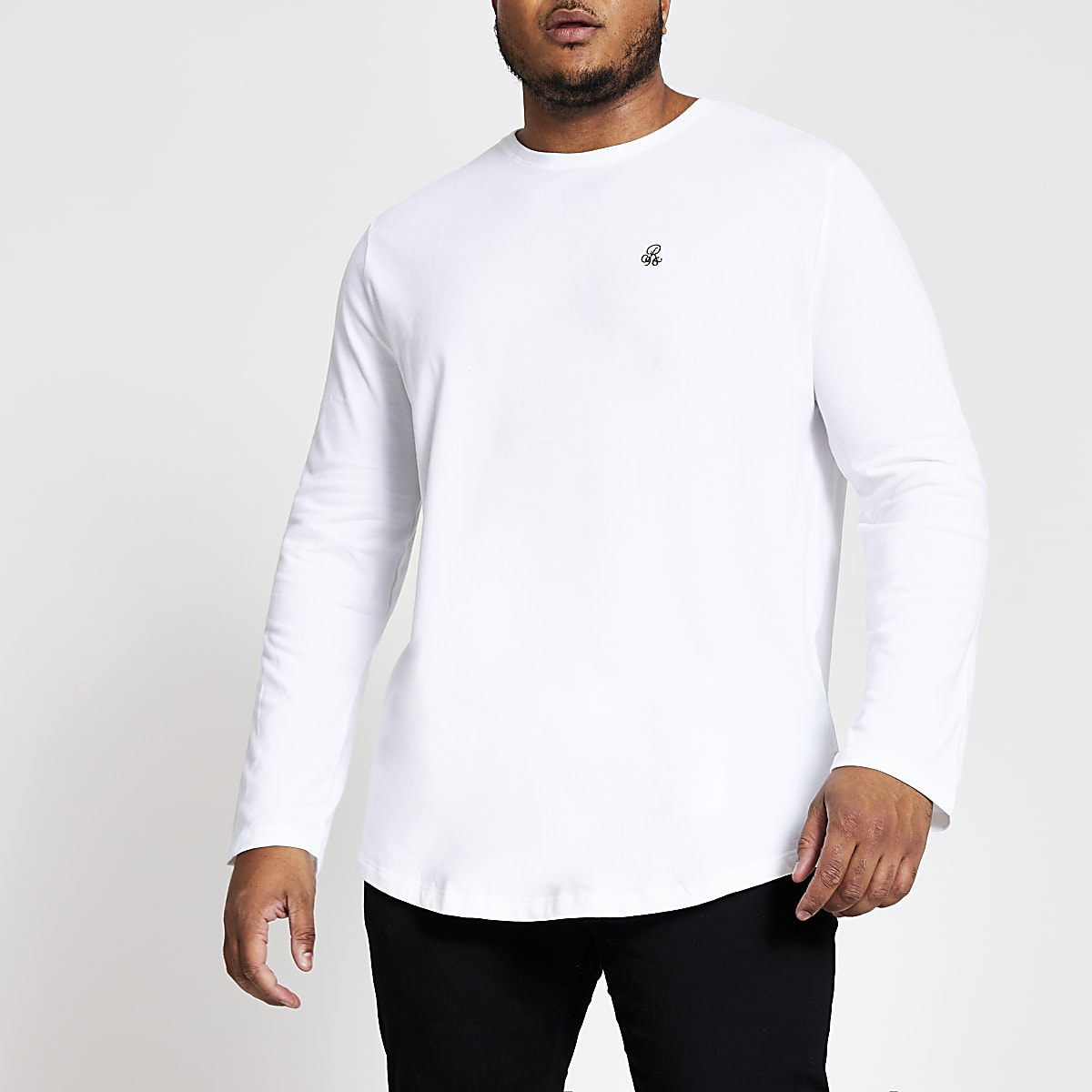 Big and Tall white R96 long sleeve T-shirt