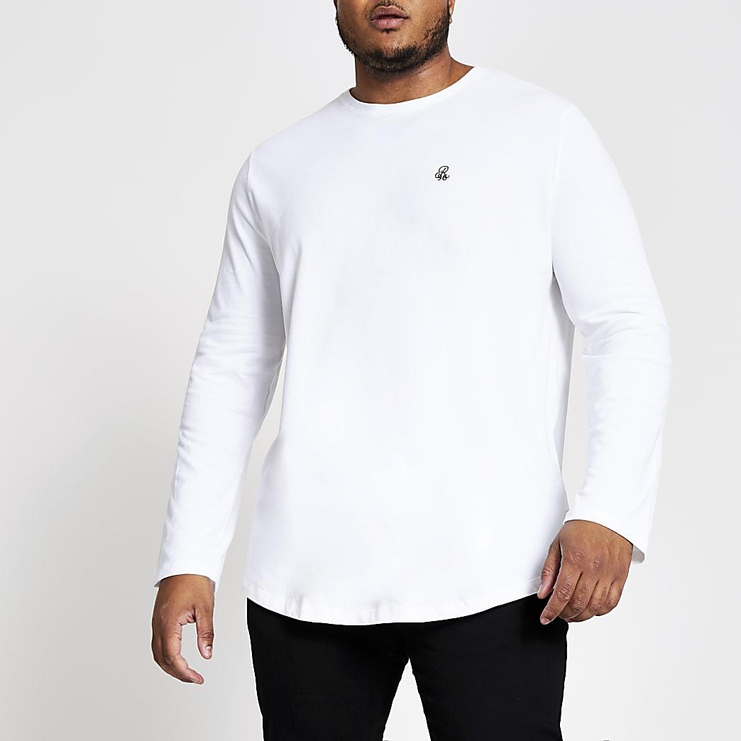 Big and Tall - Wit R96 T-shirt met lange mouwen
