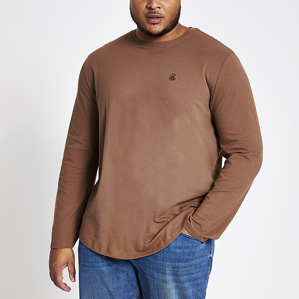 Big and Tall brown R96 long sleeve T-shirt