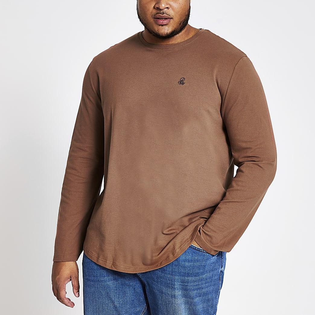 Big and Tall - BruinR96 T-shirt met lange mouwen