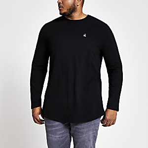 Big and Tall – Langärmeliges R96 T-Shirt in Schwarz
