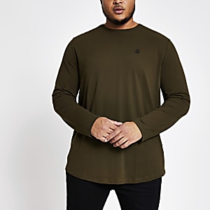Big and Tall – Langärmeliges Slim Fit Oberteil in Khaki