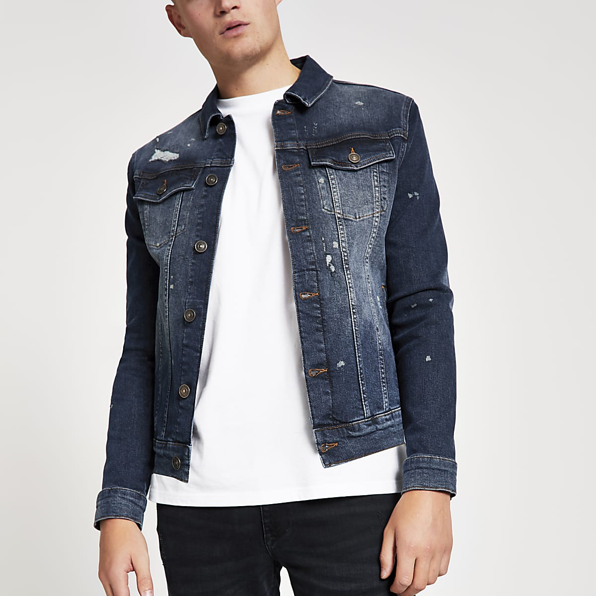 Blue distressed muscle fit denim jacket